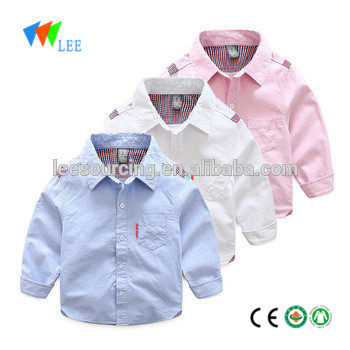 New design boutique cotton long sleeve shirt children clothes plain shirt for kids wholesale