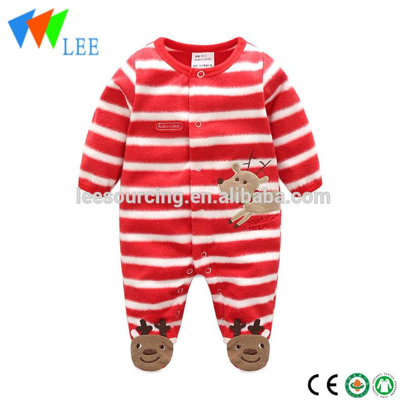 Christmas Clothing Polar Fleece Baby Romper Footed Jumpsuit Long Sleeve Baby Onesie