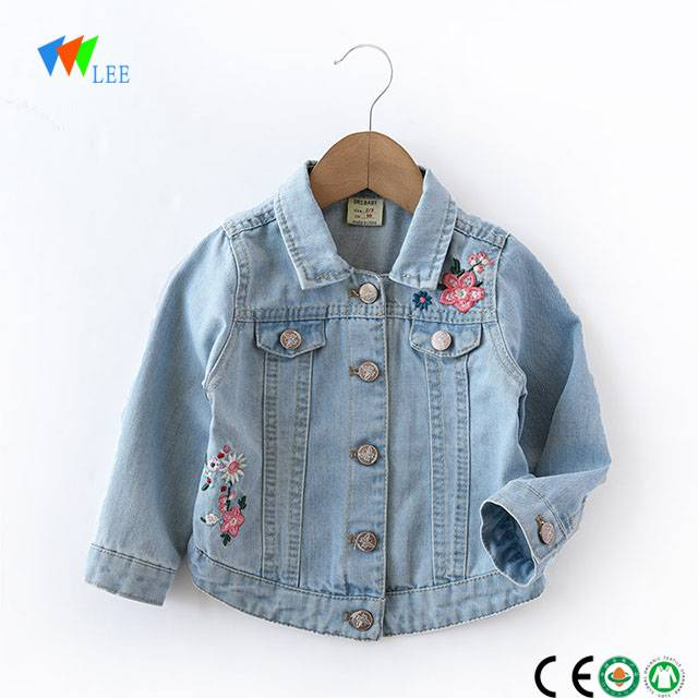 2018 wholesale high quality embroidery denim jacket for girls kids
