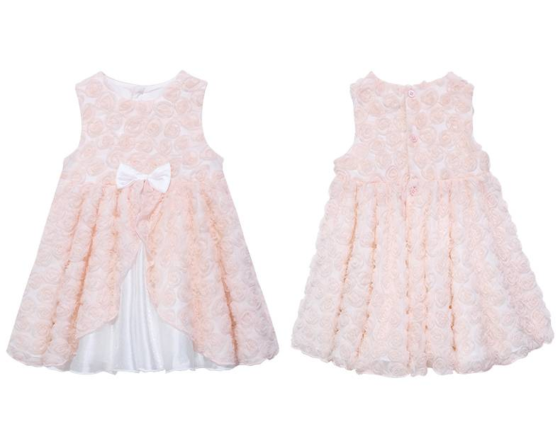 Flouncing Sleeveless Summer Children Clothing Kids Cotton Frocks Design Baby Girls Dress