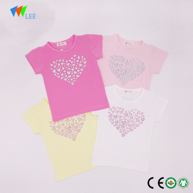 0-2T wholesale sweet round neck kids girl t-shirt