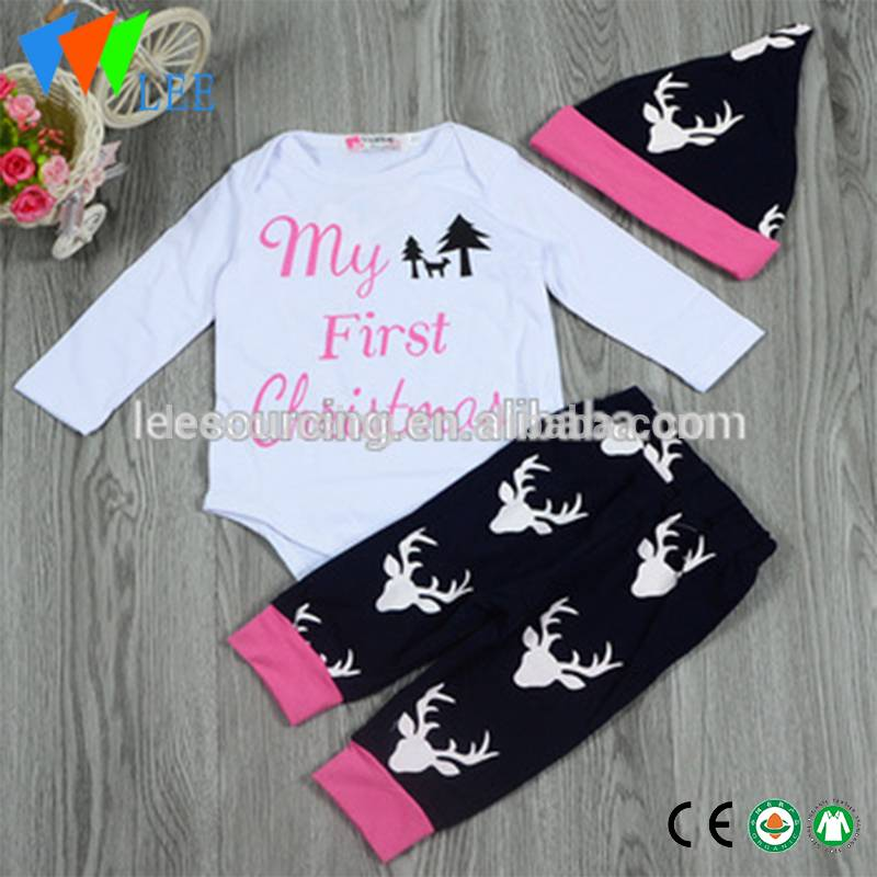Christmas Baby Clothing Set Cotton Long Sleeve Baby Romper Set With Hat 3 PCS