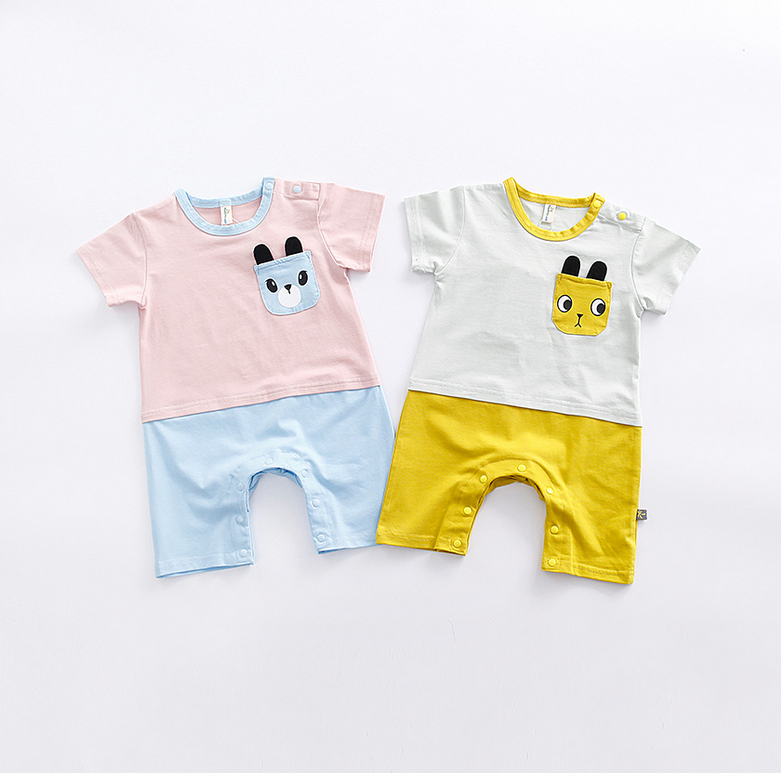 2017 New Design Short Sleeve Summer Lovely Cartoon Printing Baby Bamboo Jumpsuit