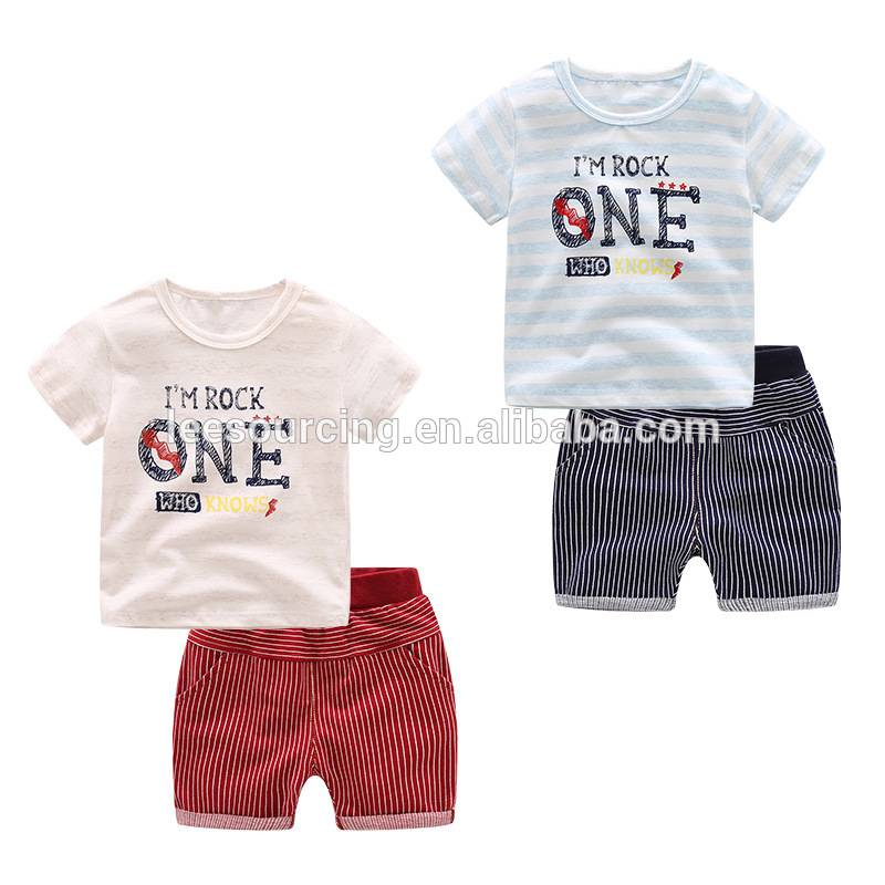 Wholesale 100% cotton striped children's boy baby clothes set kids t shirt beach wear set