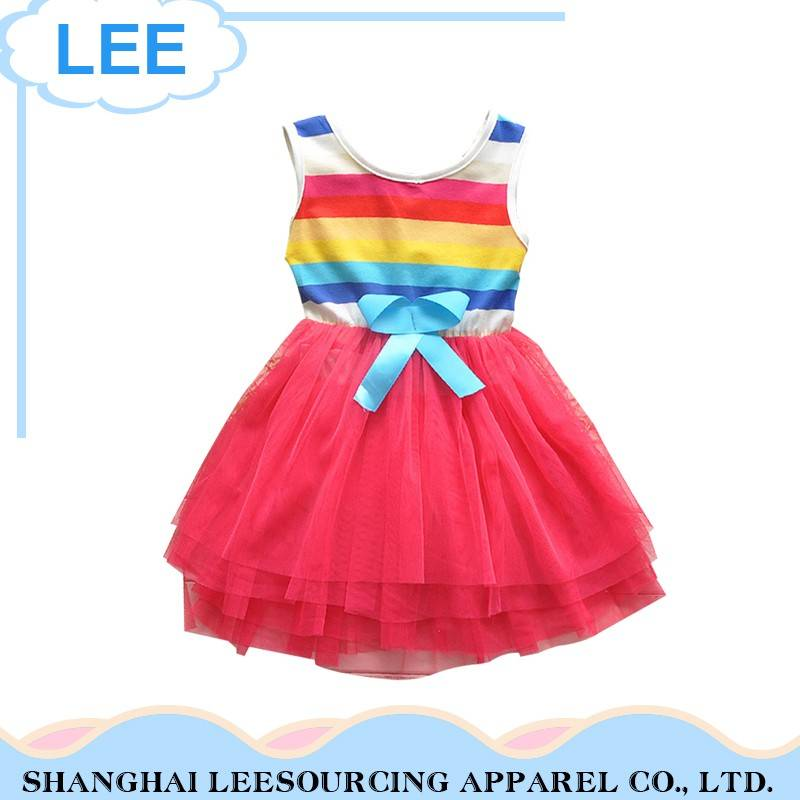 Top Quality Custom Printed Sleeveless Children Girl Rainbow Dresses