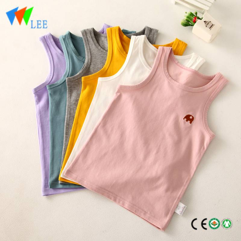 100% organic cotton baby kids child sleeveless shirt embroidered lovely