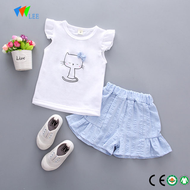 wholesale 100% cotton baby girl boutique clothing sets