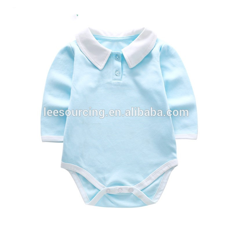 Wholesale baby polo collar romper newborn baby bodysuit and playsuit