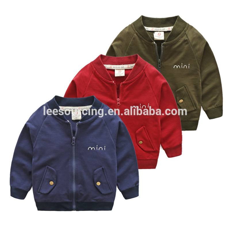 Wholesale children wear baby jacket without hood baby boys cotton sweatshirt pockets tops Featured Image