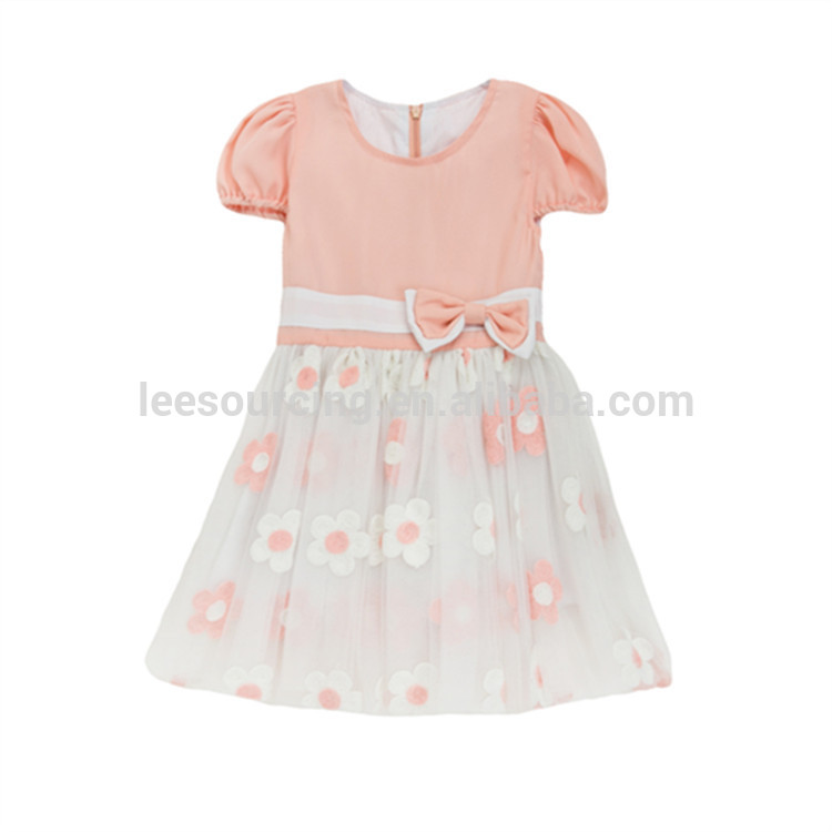 Top Supplier Wholesale Pretty Baby Girls Dresses With Bow Wedding Party Children Wear Flower Girl Tulle Dress Pink