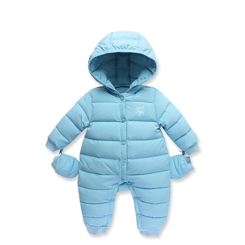 waarme fur hooded wite duck del winter windproof jas kids donsjack