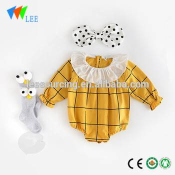 Summer cute baby romper clothing ruffle neck baby long sleeve bodysuit