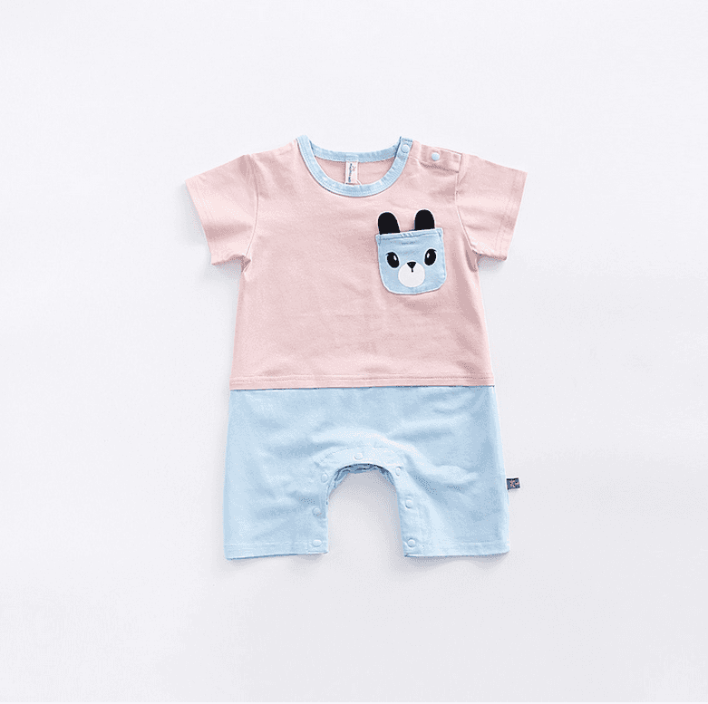 Hot Sale Short Sleeve Summer Cute Cartoon Patterns Baby Bamboo Jumpsuit