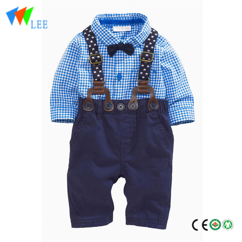 100% cotton wholesale baby kids clothing sets grid long sleeve with collar section