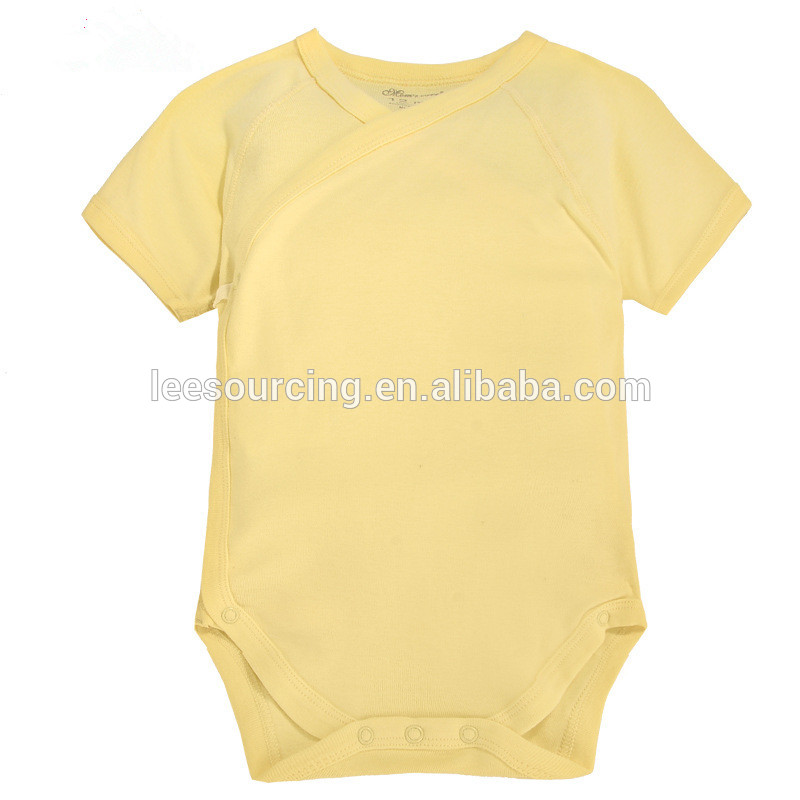 Hot sale summer short sleeve blank bamboo baby bodysuit Featured Image