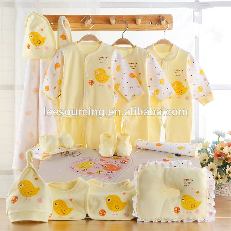 Baby 100% cotton cute gift set newborn baby printing clothing set wholesale