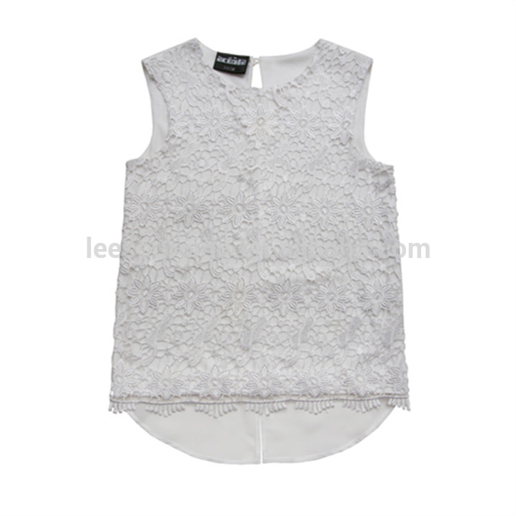 White nû designs fashion crochet elegant Sleeveless cilên kid chiffon girls bikini tops bikini lace baby zarokên boutique blouse