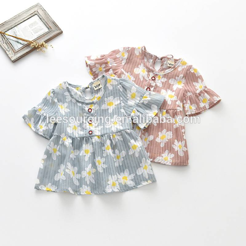 girls Wholesale cute çapkirinê full floral t shirt zarokên casual tops