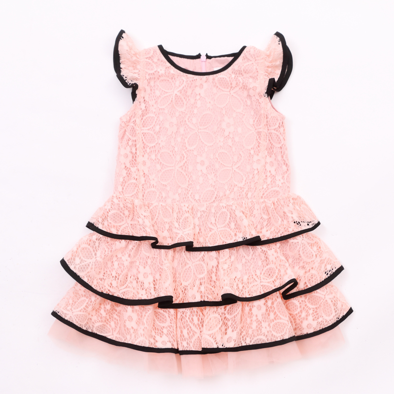 Girl Ruffle sleeves Baby pink red fashion Boutique Girls Dress