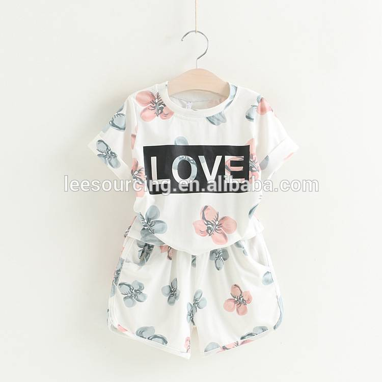Wholesale cotton printing t-shirt and shorts girls children clothes clothing sets
