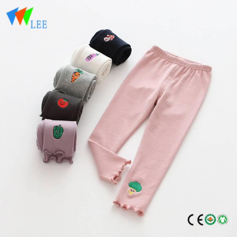 100% cotton baby girl leggings wholesale embroidered vegetables cute