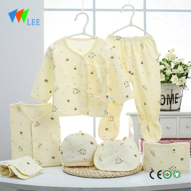 baby 100% colored cotton newborn clothing gift sets with 5 pieces