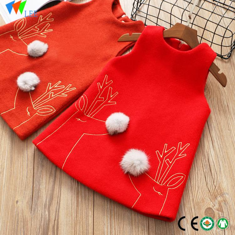 wholesales china style girl baby dress red sleeveless baby girls dress designs