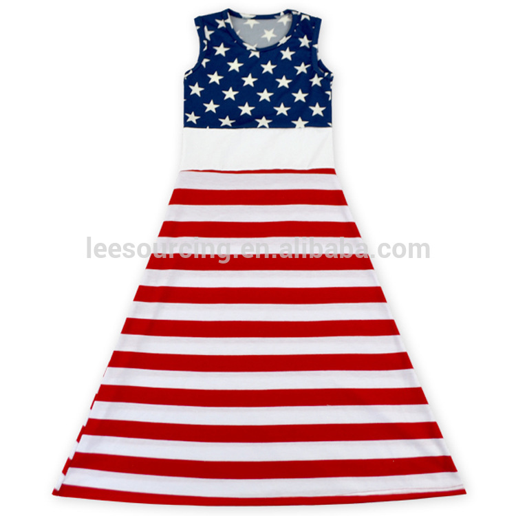 Summer floor length blue star & stripped red white patriotic baby girl dress kids clothes girls dresses of US 4th July