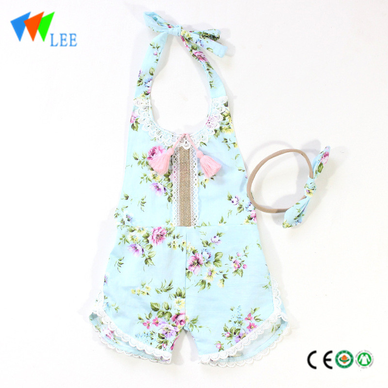 HOT SALE 100% cotton summer baby romper print flounce printed floral