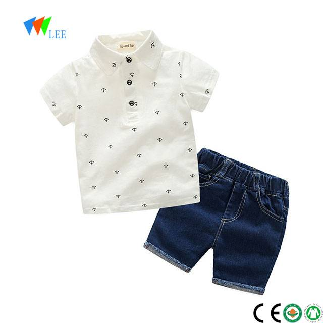 100% cotton baby boy polo t-shirt and trousers clothes clothing set