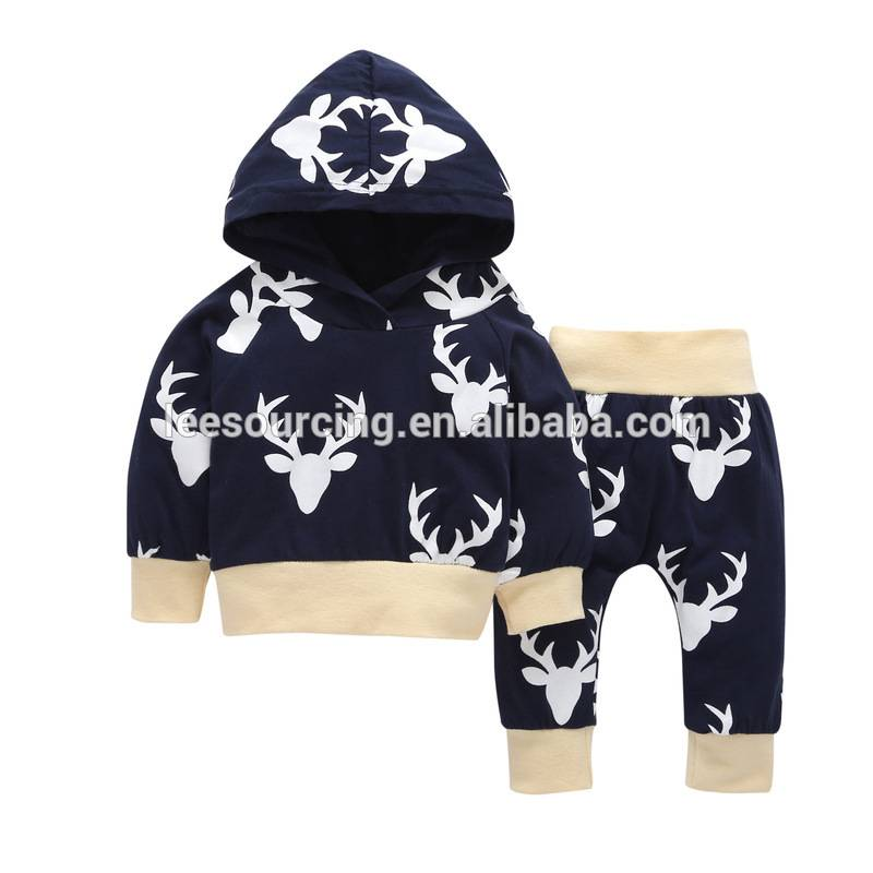 Christmas Baby Clothing Cotton Baby Clothing Set Deer Pattern Long Sleeve Hooded Jacket And Pants