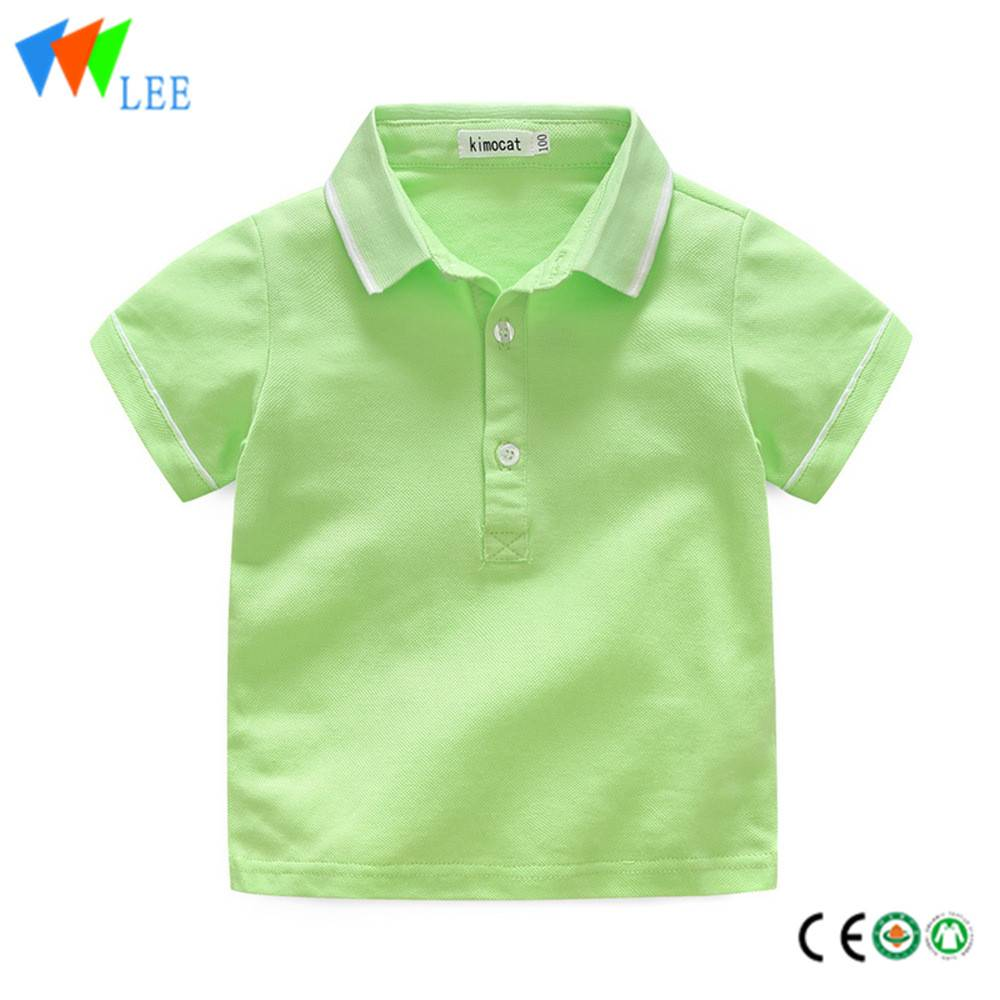 kids boys casual polo shirts wholesale short sleeve lapel bead cotton pure-color fallow