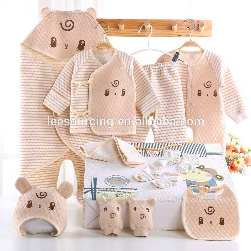 Wholesale 100% organic cotton 13 pieces sets of baby clothing sets gift box for newborn girls boys