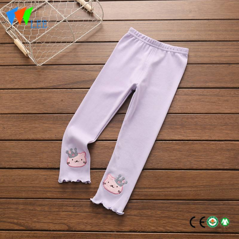 100% cotton baby girl leggings wholesale pure-color embroidered kitty-cat lovely