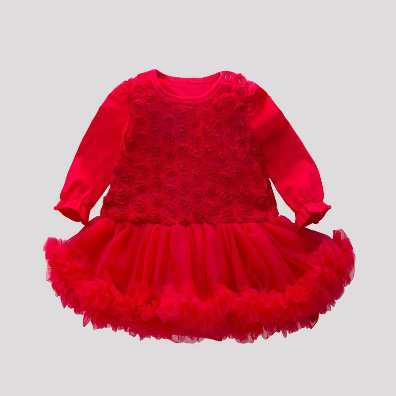 High Quality Cheap Flower Girl Dress Red Wholesale Children Fancy Dress