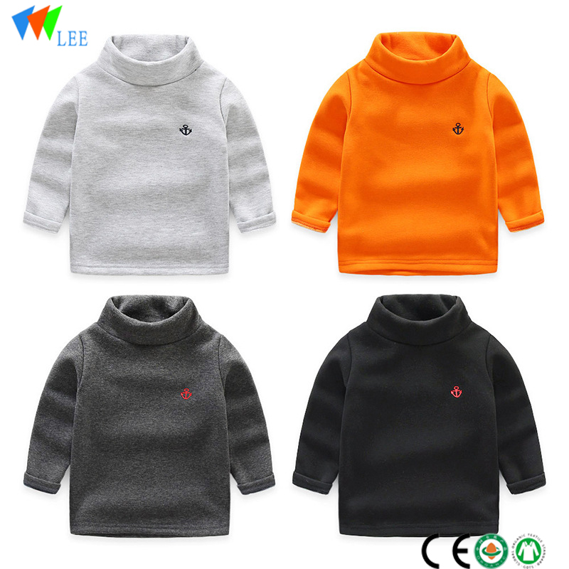 winter new style kids round neck t-shirt long sleeve organic cotton High-necked kids cotton t-shirt wholesale