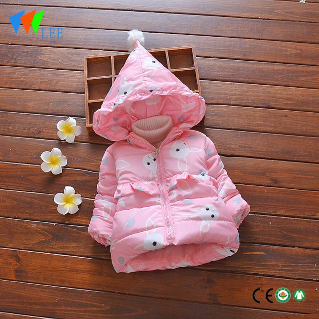 winter coat covered with rabbit head girls children cotton-padded designer winter down jacket
