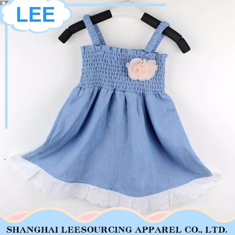 Hot Sale Label Soft Material Blue Newborn Baby Girl Dress