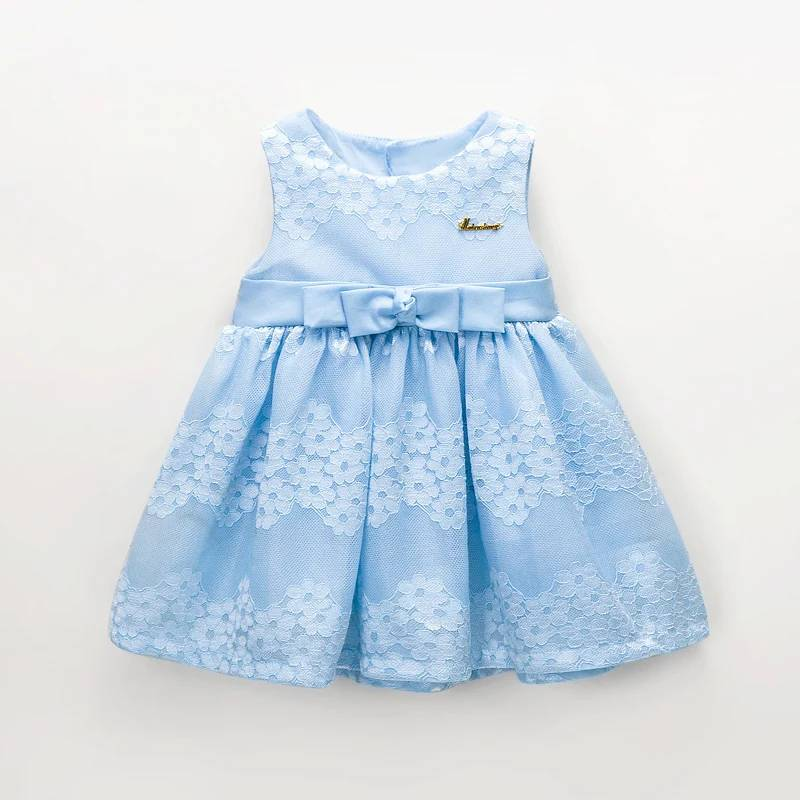 Latest Design Cotton Blue Sleeveless Baby Girls Christmas Dress