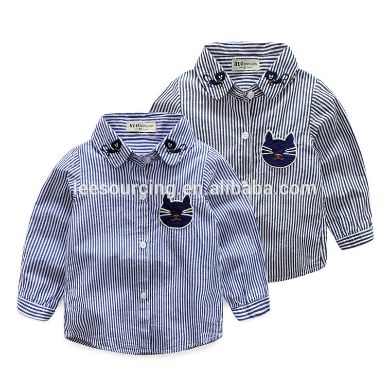New design Western style boutique baby clothes boys long sleeve embroidery cat shirts children tops wholesale Featured Image