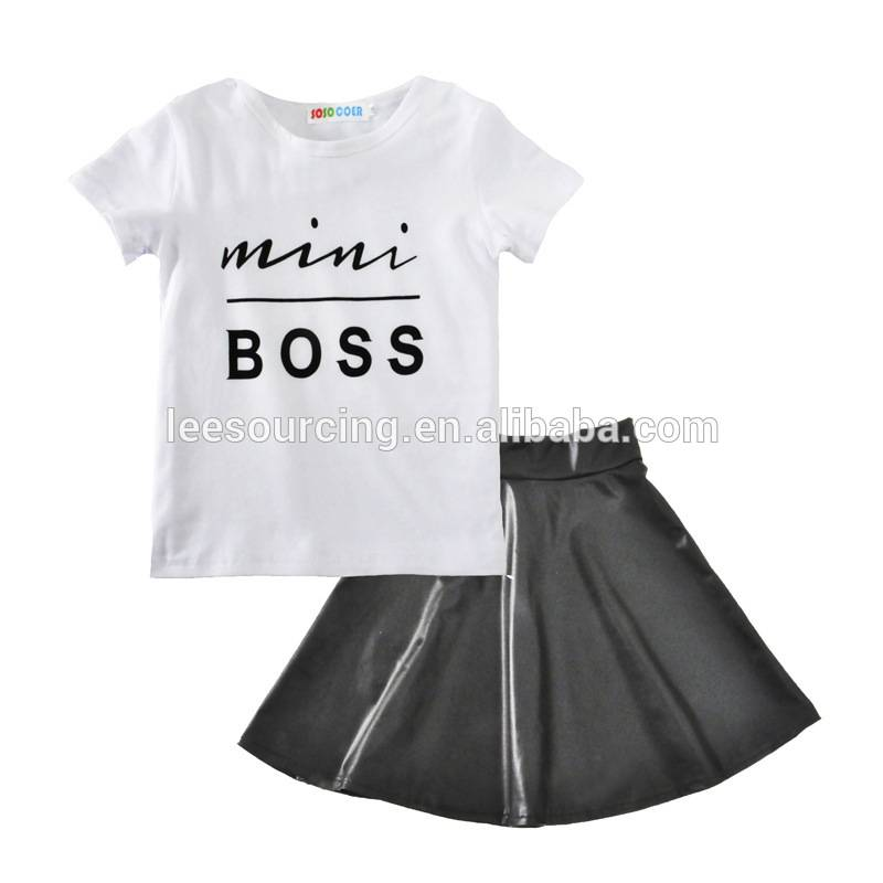 Wholesale 2 pieces girl t-shit and skirt set children clothes set