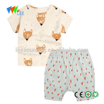 Summer children boys clothes short sleeve cartoon printing t-shirt with shorts suit