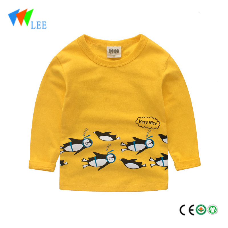 100% cotton round neck t shirt with number design boys long sleeve