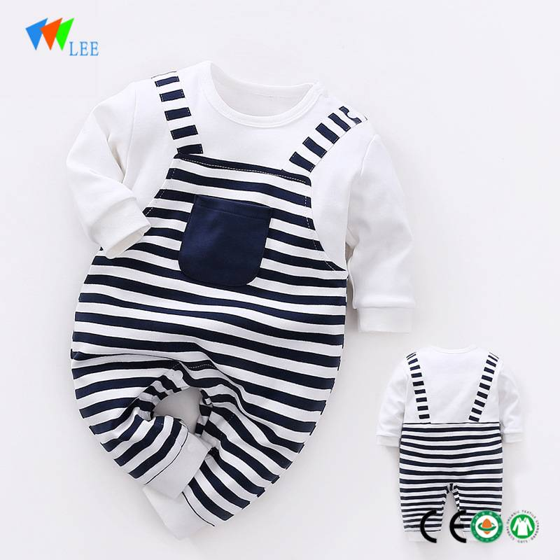 wholesale New fashions cotton long-sleeved comfortable stripe baby onesie romper