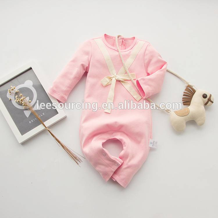 Wholesale cotton pink color high quality soft baby playsuit