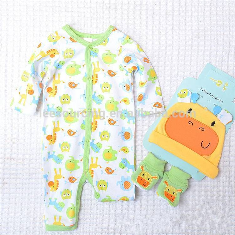 Wholesale romper new born onesie infant bodysuit print clothes baby 3-piece layette set