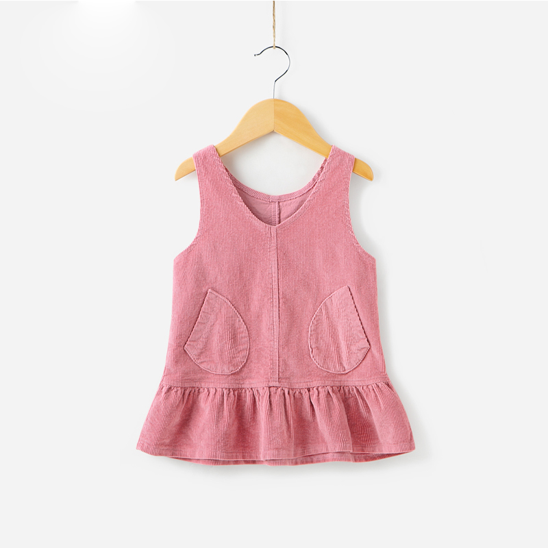 Casual Style Summer Wear Children Baby Girl Jean Vest Ruffle Dress