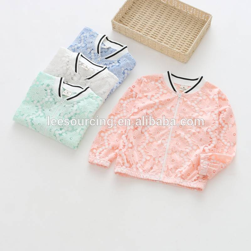 Summer solid color zipper lace cotton girls jacket