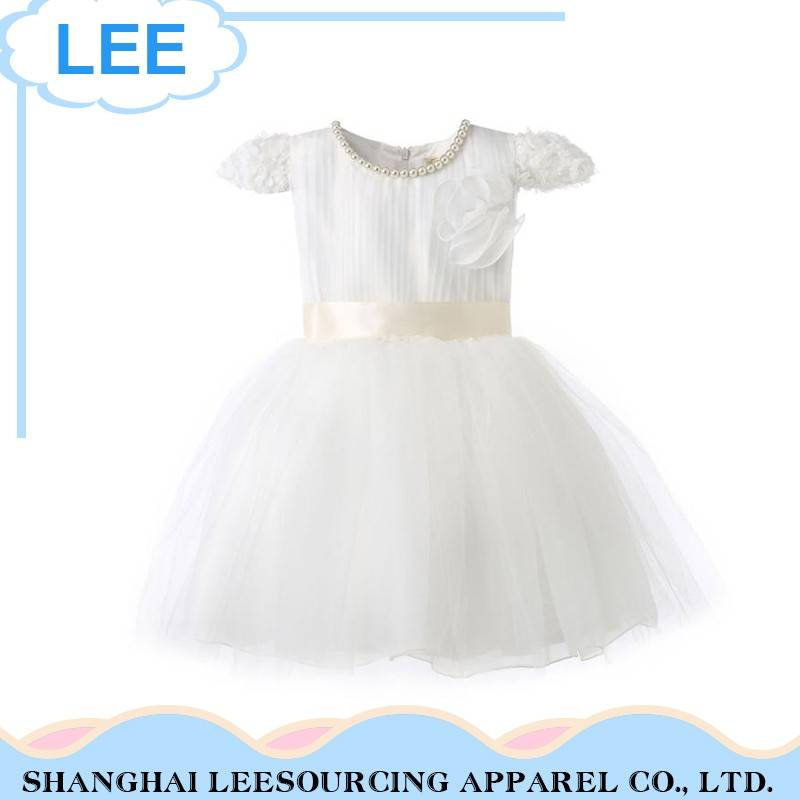 Hot Sale Soft Material White Casual Children Baby Girl Dress