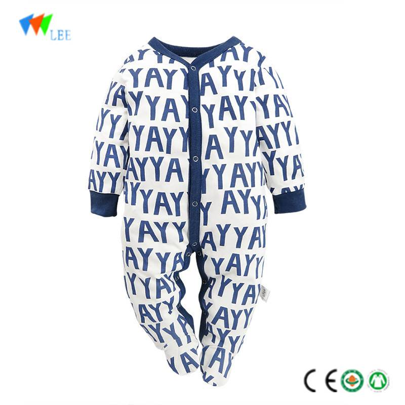 wholesale & OEM high quality cotton cute baby boy romper with foot full print letter